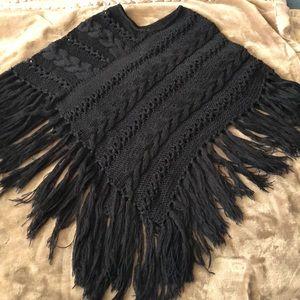 Black Tassel Fringe Poncho
